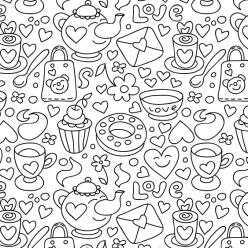 Раскраски антистресс Сладости «Сладкое чаепитие», чтобы распечатать