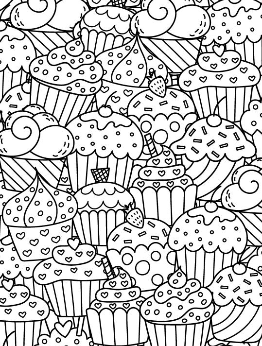 Раскраски антистресс Сладости «Кексы», чтобы распечатать