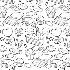 Раскраски антистресс Сладости «Конфеты, леденцы и торты», чтобы распечатать