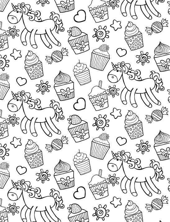 Капкейки и единороги - Сладости - Раскраски антистресс