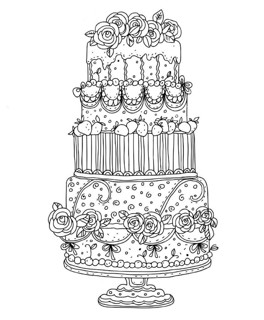 Раскраски антистресс Сладости «Многоярусный свадебный торт», чтобы распечатать