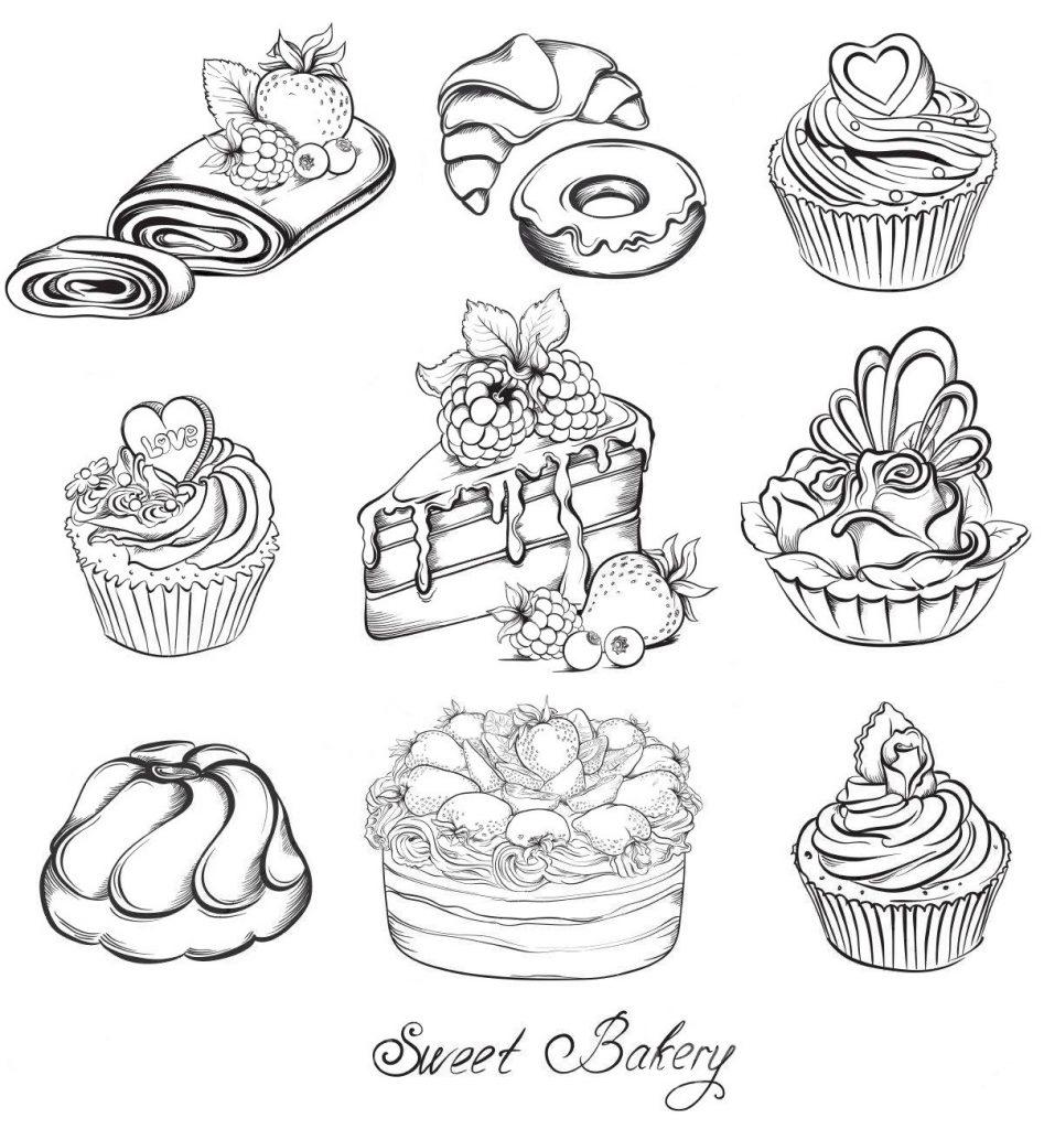 Раскраски антистресс Сладости «Прекрасная пекарня», чтобы распечатать
