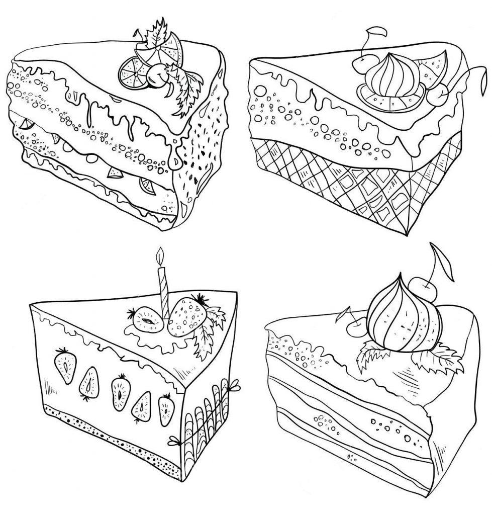 Раскраски антистресс Сладости «Кусок торта», чтобы распечатать