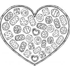 Раскраски антистресс Сладости «Сердечко с конфетами», чтобы распечатать