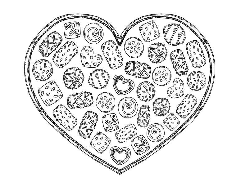 сердечко с конфетами сладости раскраски антистресс