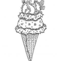 Раскраски антистресс Сладости «Мороженое рожок», чтобы распечатать