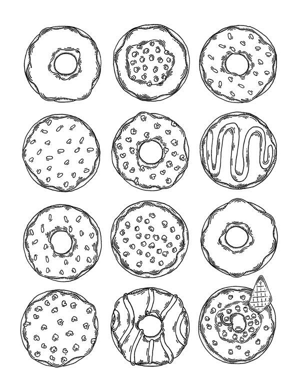 Раскраски антистресс Сладости «Много пончиков», чтобы распечатать