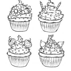 Раскраски антистресс Сладости «Разные виды кексов», чтобы распечатать