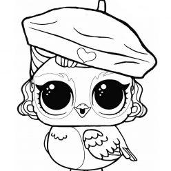 Раскраски «кукла ЛОЛ» питомец сова, чтобы бесплатно распечатать