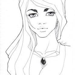 Раскраска арт терапия для взрослых «Рисунок лица женщины», чтобы распечатать бесплатно