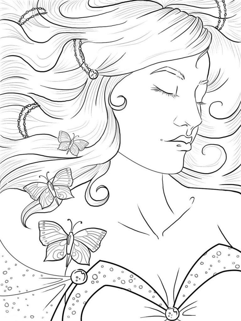 Раскраска спящая девушка, чтобы распечатать