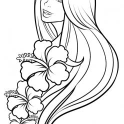 Раскраска Лицо девушки с волосами для девочек и взрослых арт терапия, чтобы распечатать