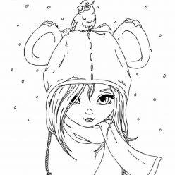 Раскраска Девочка в шапке, чтобы распечатать
