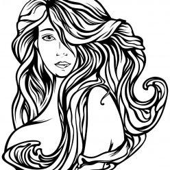 Раскраска антистресс Девушка с длинными волосами, чтобы распечатать