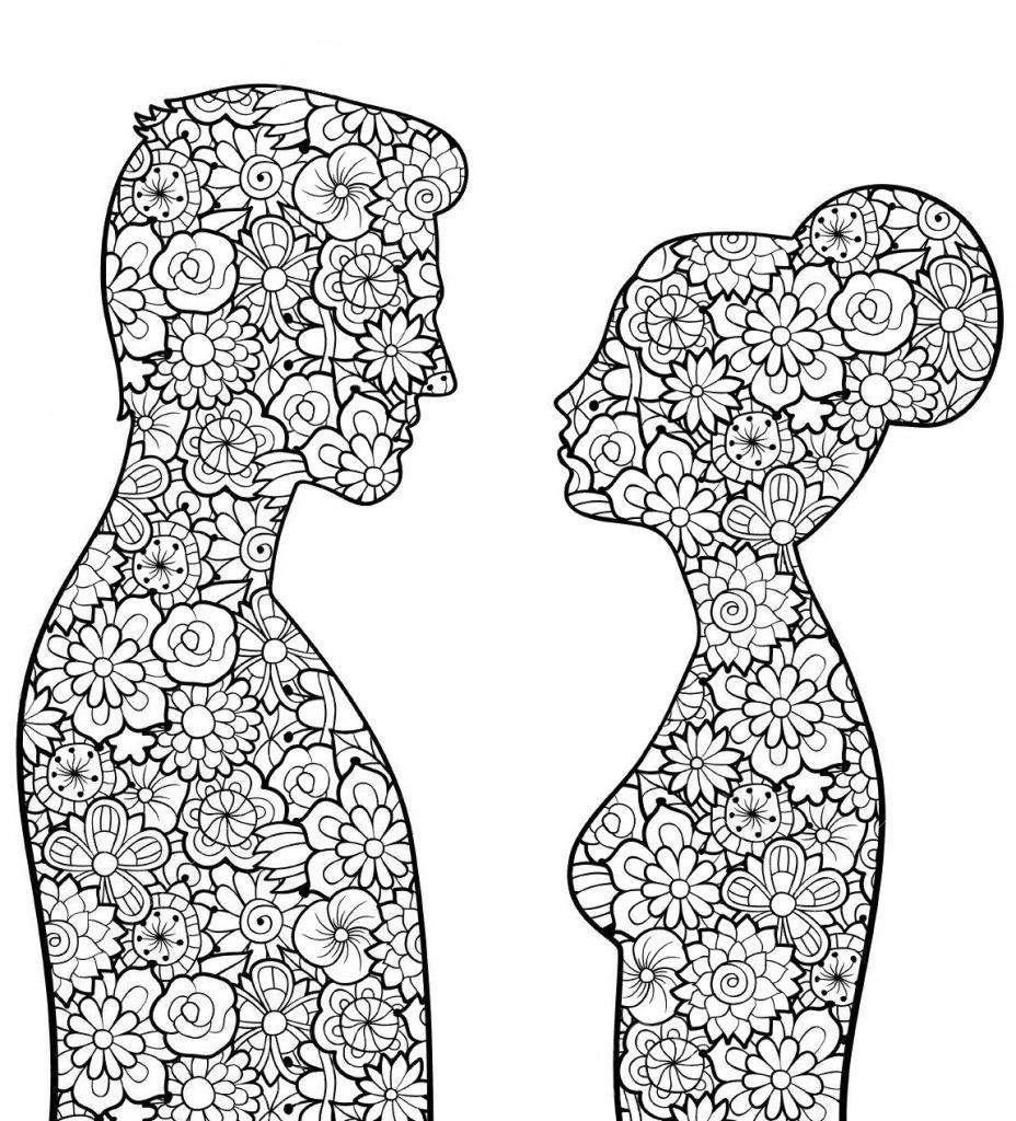 Раскраска антистресс «Мужчина и женщина», чтобы распечатать
