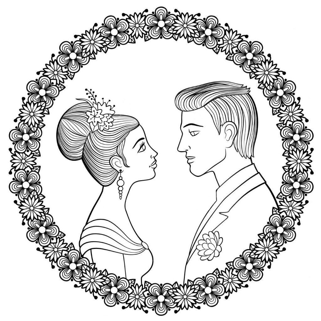 Раскраска свадебная антистресс «Жених и невеста», чтобы распечатать