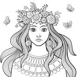 Раскраска антистресс «Девушка с венком цветов на голове», чтобы распечатать бесплатно и раскрасить