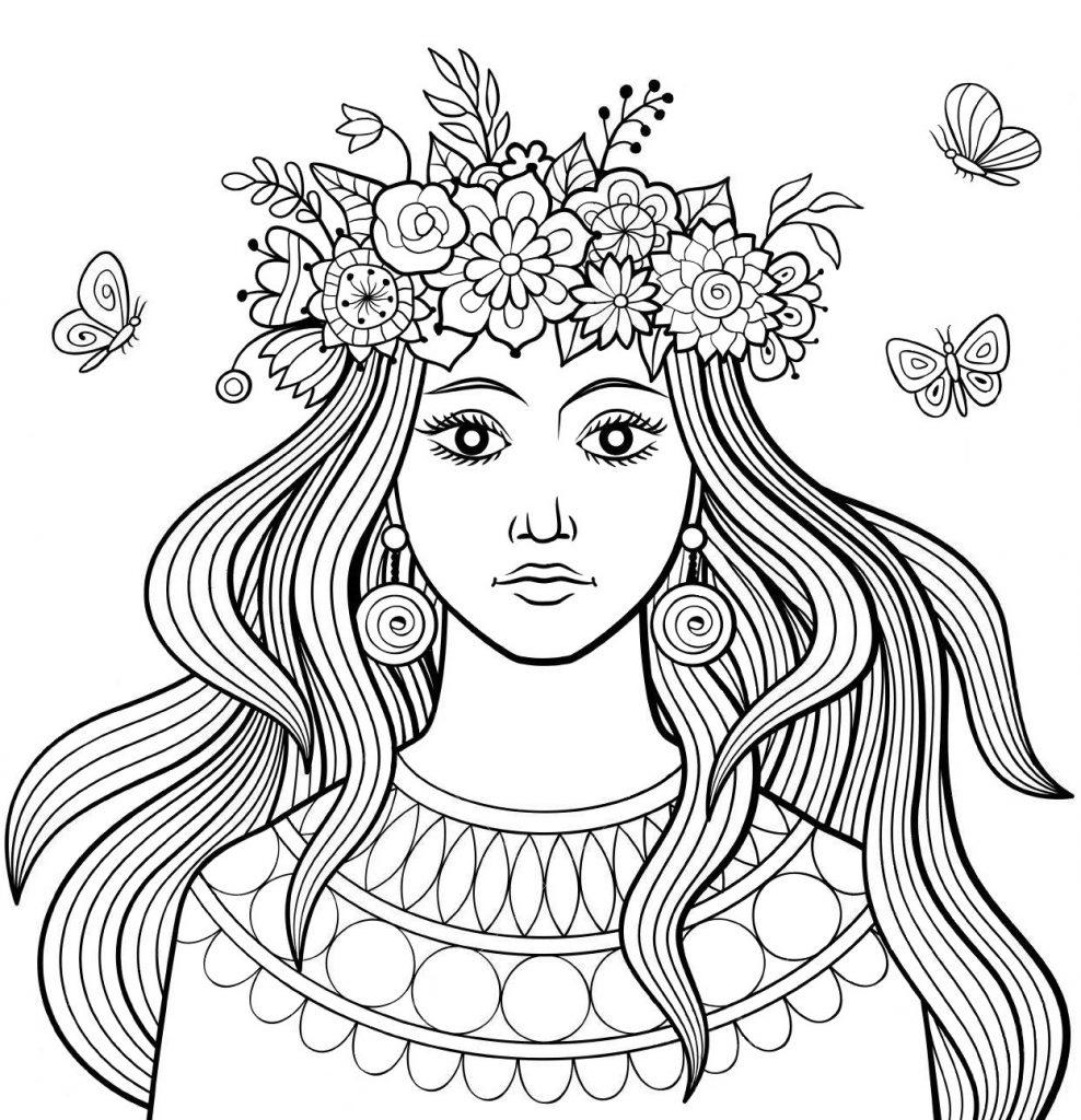 Раскраска антистресс «Дувушка с венком цветов на голове», чтобы распечатать бесплатно и раскрасить