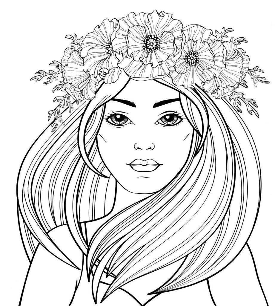 Раскраска антистресс «Девушка с маками в волосах», чтобы распечатать бесплатно и раскрасить