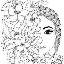Раскраска антистресс «Арт терапия лицо с цветами», чтобы распечатать бесплатно и раскрасить