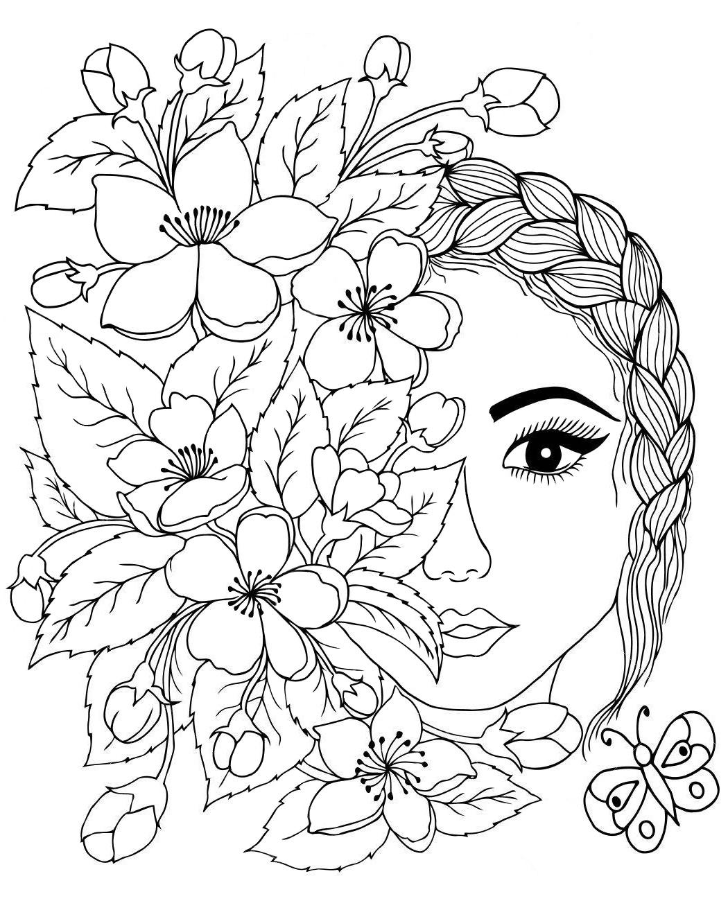 Арт терапия лицо с цветами - Люди и лица - Раскраски ...