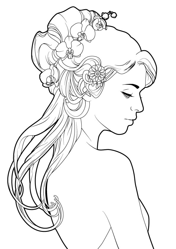 Раскраска арт терапия «Силуэт девушки с орхидеей», чтобы распечатать бесплатно и раскрасить