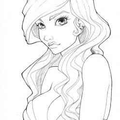 Раскраска арт терапия «Рисунок девушки», чтобы распечатать бесплатно