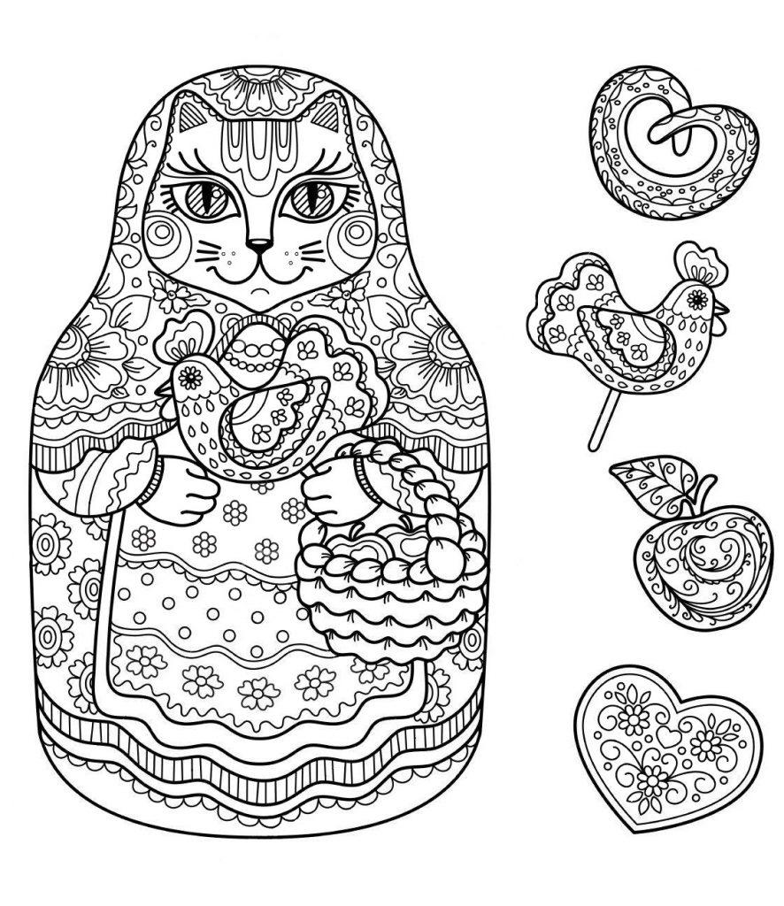 Раскраска антистресс Матрешка Кошка со сладостями, чтобы распечатать