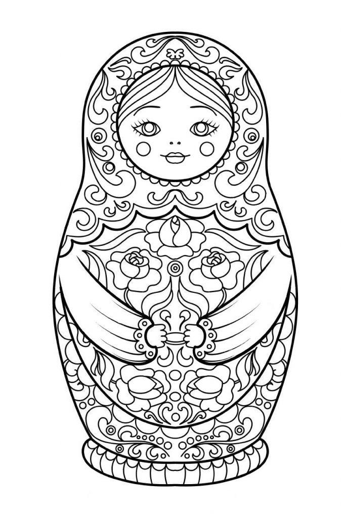 Раскраска для взрослых и детей «Русская Матрешка», чтобы распечатать