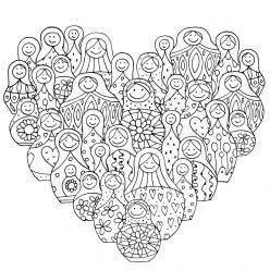 Раскраска Сердце из матрешек, чтобы распечатать