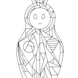 Раскраска Арт Матрешка геометрия, чтобы распечатать