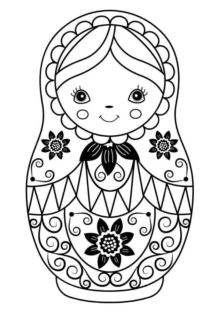 Раскраска Матрешка красивая для детей, чтобы распечатать
