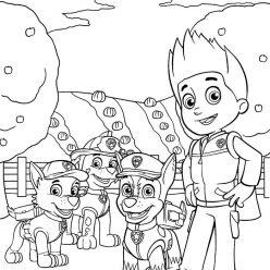 Раскраска мультфильм щенячий патруль Райдер, чтобы распечатать