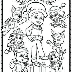 Раскраска мультфильм Щенячий патруль на новый год, чтобы распечатать