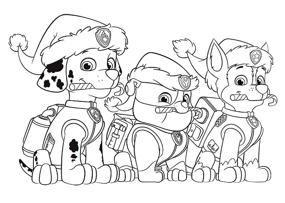 Раскраска мультфильм Новогодний щенячий патруль, чтобы распечатать