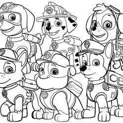Раскраска мультфильм Спасатели Щенячий патруль, чтобы распечатать