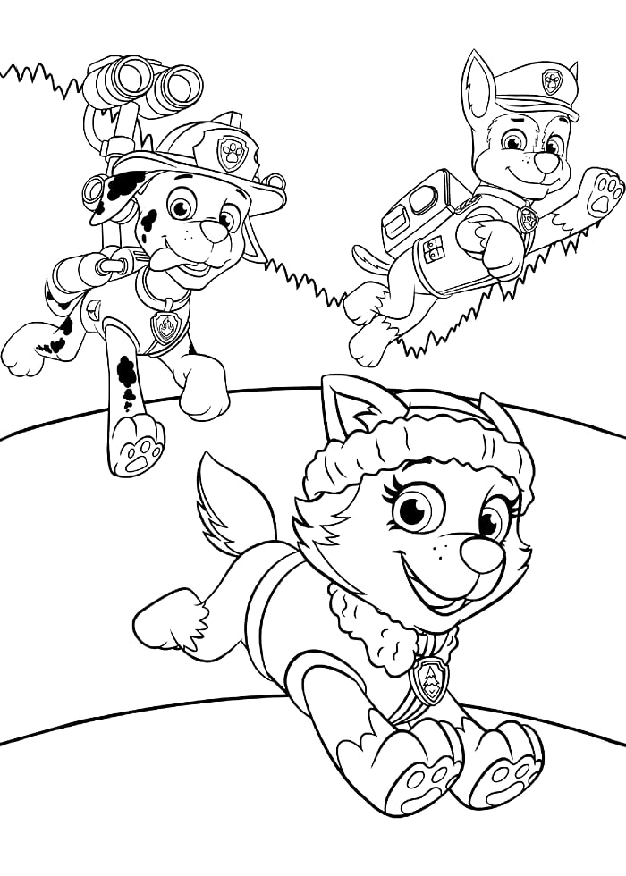 Раскраска мультфильм Эверест Щенячий патруль, чтобы распечатать