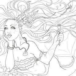 Раскраска Красивая русалка, чтобы распечатать