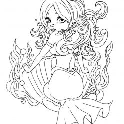 Раскраска русалка в ракушке для девочек, чтобы распечатать