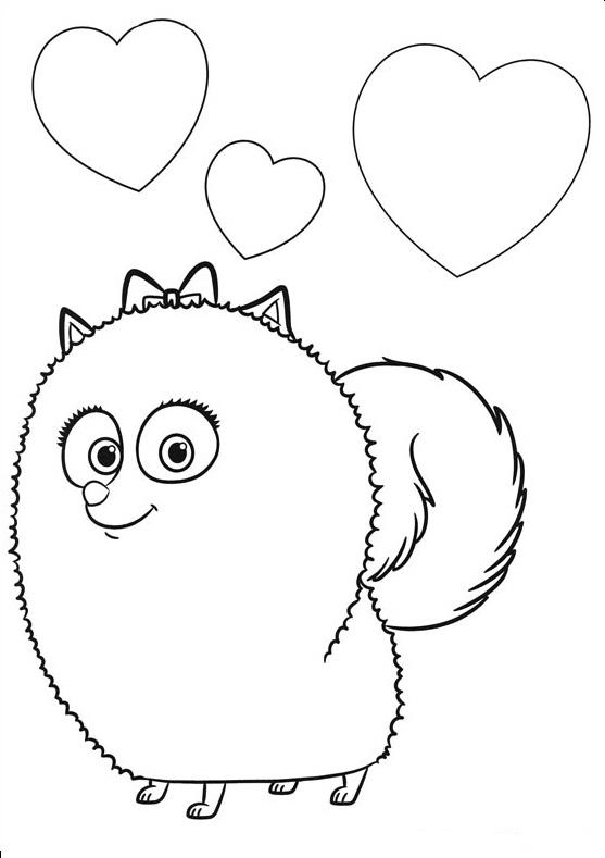 Картинки из мультфильма «Тайная жизнь домашних животных» девочка-шпиц Диджет, чтобы бесплатно распечатать