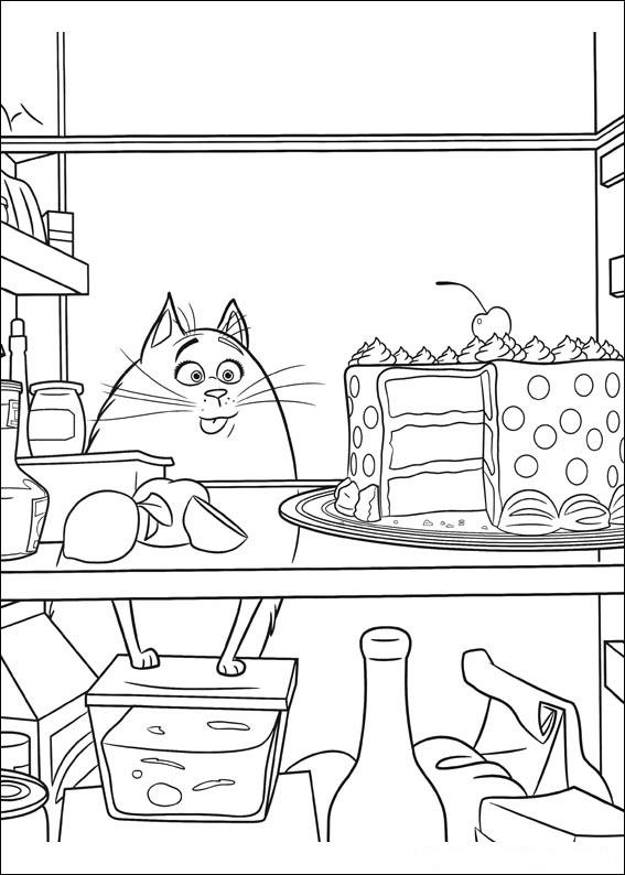 Картинки из мультфильма «Тайная жизнь домашних животных» кошка Хлоя с тортом, чтобы бесплатно распечатать