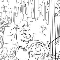 Раскраски мальтфильм «Тайная жизнь домашних животных» собака Макс, чтобы бесплатно распечатать