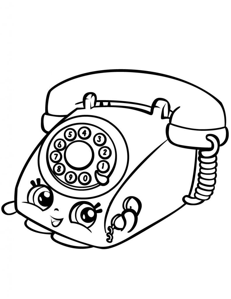 Раскраска «Шопкинс Телефон» сверкающие зверята, чтобы распечатать