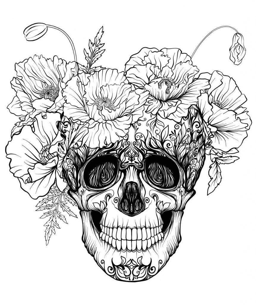 Раскраски хэллоуин антистресс «Череп с маками», чтобы распечатать