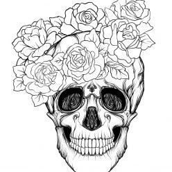 Раскраски хэллоуин антистресс «Череп анфас с розами», чтобы распечатать