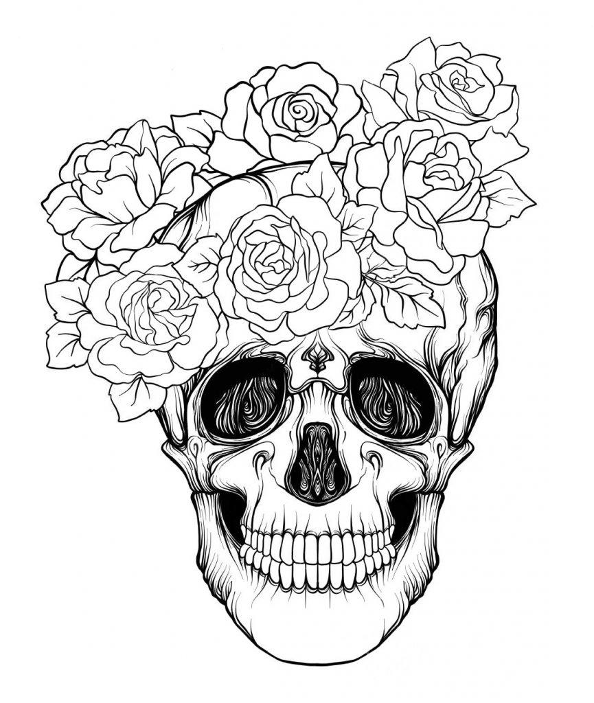 Череп анфас с розами - Хэллоуин - Раскраски антистресс