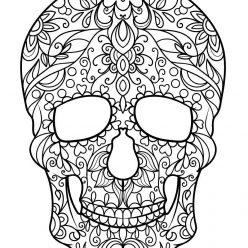 Раскраска антистресс для взрослых «Рисунок черепа», чтобы распечатать