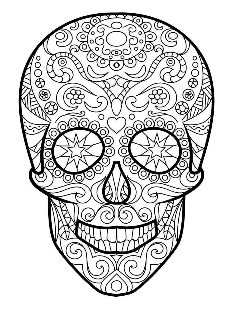 Раскраска антистресс для взрослых «Череп человека», чтобы распечатать