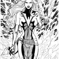 Раскраска супергерои Люди Икс: Тёмный Феникс Марвел, чтобы распечатать и раскрасить онлайн