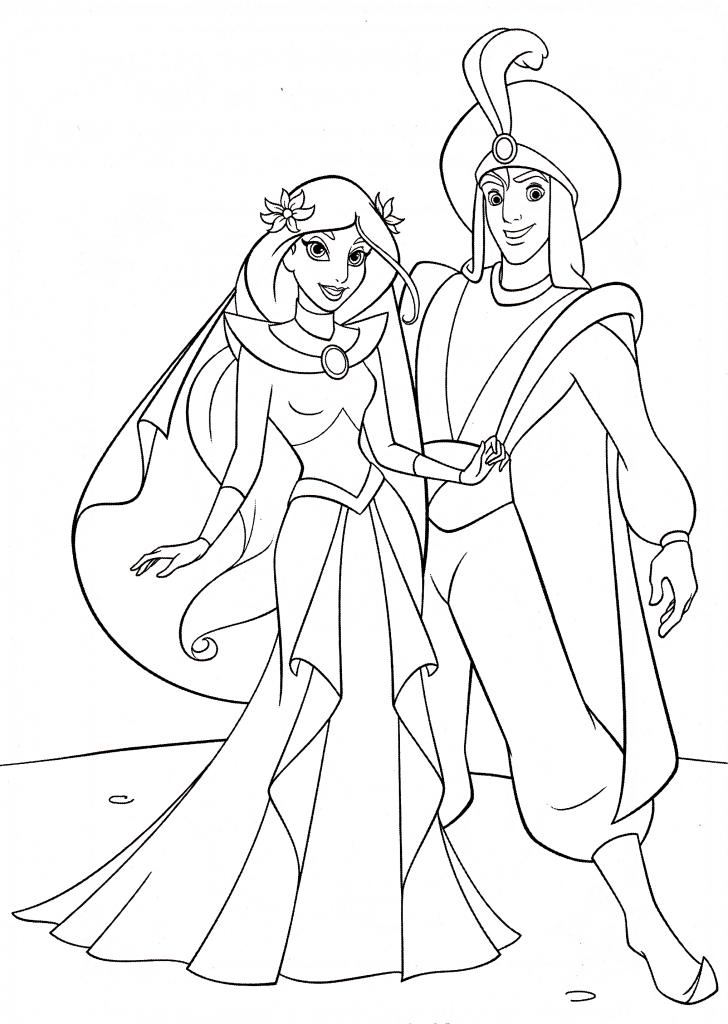 Раскраска принцесса дисней Алладин «Свадьба Жасмин и Алладина», чтобы распечатать